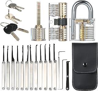 Staright Conjunto de ferramentas de seleção de fechaduras de 15 unidades com cadeado de treinamento de três práticas trans...