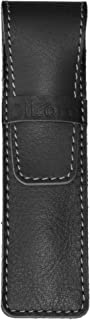 DiLoro Full Grain Top Quality Genuine Leather Single Pen Case Holder Sleeve Pouch in Black