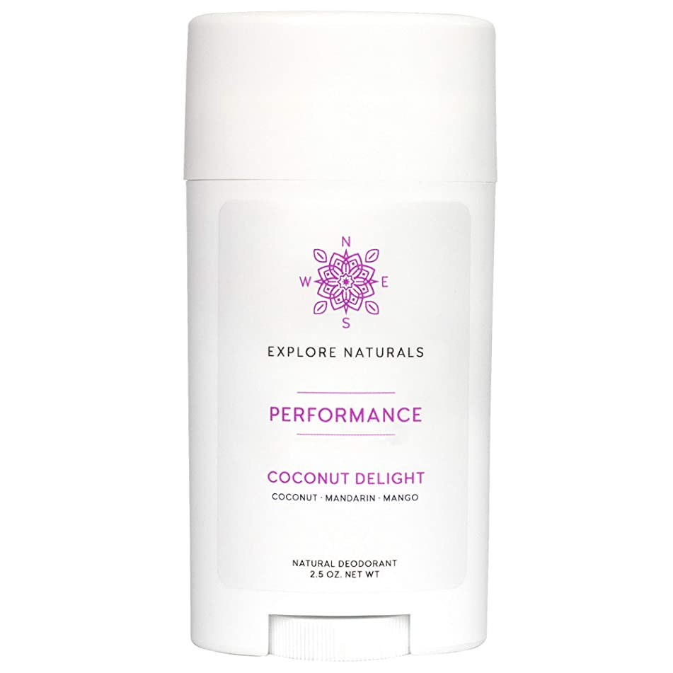 Natural Deodorant – Aluminum-Free, All-Day Performance for Women & Men by Explore Naturals - Paraben, Phthalate, Sulfate & Cruelty Free - Multiple Scents Available, Made in the USA (Coconut Delight)