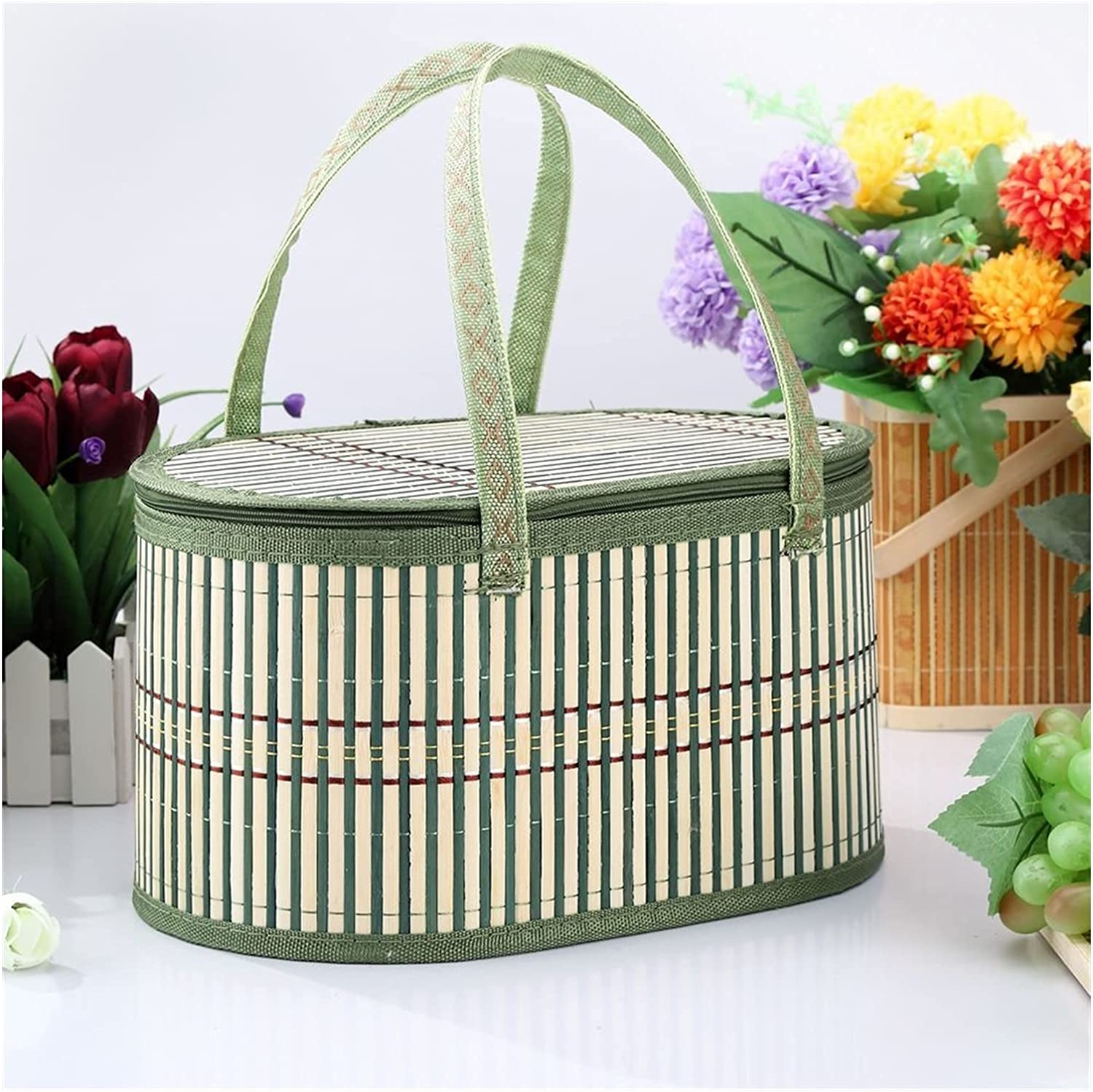 AQHXLS Foldable Houston Mall Super popular specialty store Bamboo Woven Picnic Basket Handle and Lid with