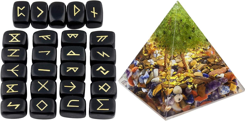 outlet mookaitedecor Bundle famous - 2 Items: Black Obsidian Stones Rune Set