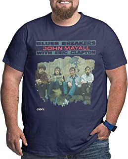 John Mayall with Eric Clapton Blues Breakers Round Big Size Men T-Shirt Heavy Navy