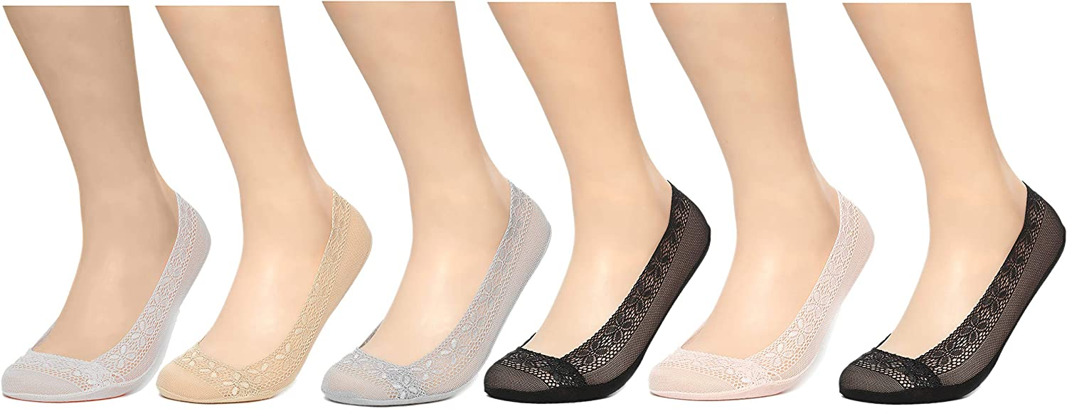New life 6 Pairs excellence Women's Lace No Show Shoe Footliner Fits Sz. 9-11; Socks