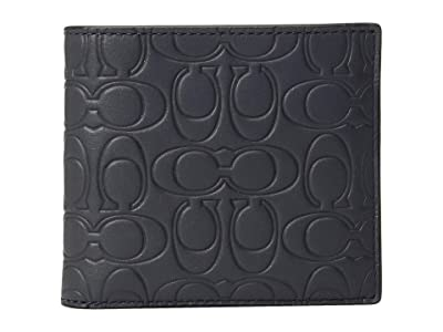 COACH Double Billfold in Embossed Signature Leather (Blue) Bill-fold Wallet