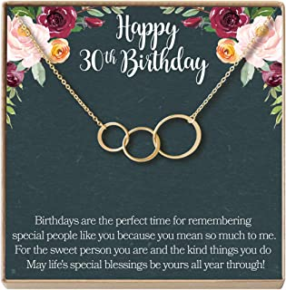 30th Birthday Gift Necklace: Birthday Gift, Jewelry Gift for Her, 3 Asymmetrical Circles