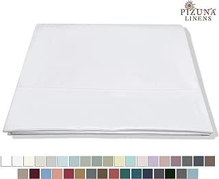 Pizuna 400 Thread Count Cotton Full Flat Sheets White 1pc, 100% Long Staple Flat Cotton Sheet, Soft Sateen Bed Flat Sheets with Stylish 4 Inch Hem (White Full Flat Sheet 100% Cotton)