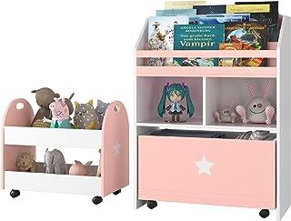 Bibliothèque pour enfants - Lot de 2 unités de rangement pour jouets avec tiroirs - 3 étagères - Organisateur de jouets - ...