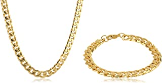Men's Curb Chain Gold Ion-Plated Stainless Steel Barcelet...