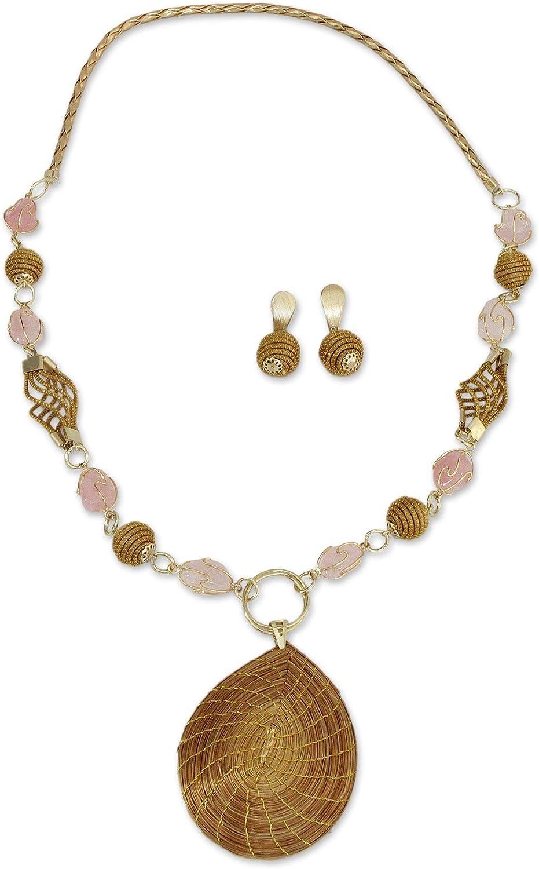 NOVICA Rose Quartz Gold Plated Jewelry Set 'Jalapão Romance'