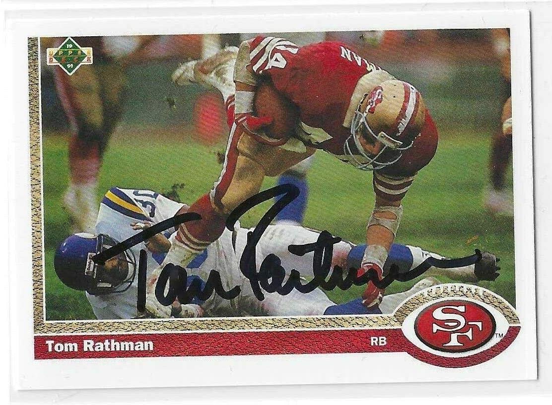 Tom Rathman Signed Seattle Mall 1991 Upper Deck Francisco #103 Card 49ers San Superior