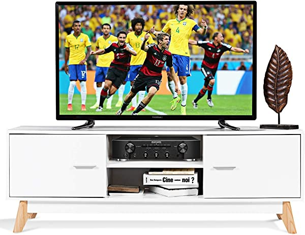 Tangkula TV Stand Modern Wood Multipurpose Organizer Entertainment Media Console Center Home Living Room Furniture Television Stand With 2 Storage Cabinets And 2 Open Shelves White