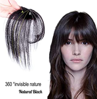 Clip in Bangs Hair Extensions Invisible Seamless Fringe Human Hair 3D Hair Toppers for Women Natural Black