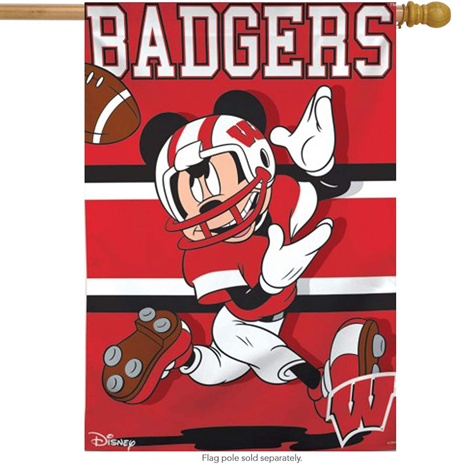 University of Wisconsin Badgers NCAA Mickey Mouse House Flag Licensed 28  x 40