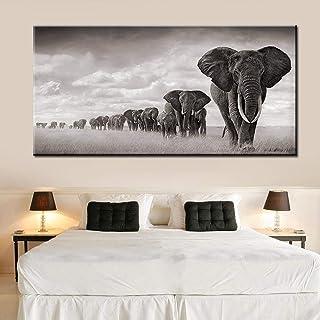 Carteles e impresiones de lienzo de animales salvajes de elefantes africanos negros Cuadros cuadros artísticos de pared pa...