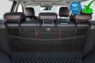 AMEIQ Car Trunk Organizer, Backseat Mesh Storage, Seat Back Cargo Nets Bag, Netting Holder for Toys Tools Cloth Groceries, Fit for Most SUVs