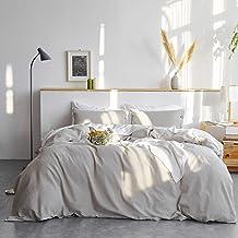 Bedsure Linen Duvet Cover Queen 55% Cotton 45% Linen Duvet Cover Set - 3 Pieces Comforter Cover Set Greige (90 x 90 inchs,No Comforter Included)