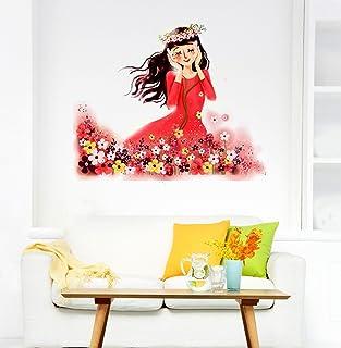Decals Design 'Cartoon Girl in Flower Garden Listening to Nature' s Music' Wall Sticker (PVC Vinyl, 70 cm x 50 cm)