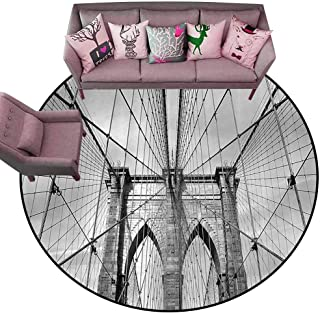 Large Floor Mats for Living Room Colorful Landscape,USA New York Brooklyn Bridge Cityscape Scenery Photo Print,Black White and Charcoal Grey Diameter 60