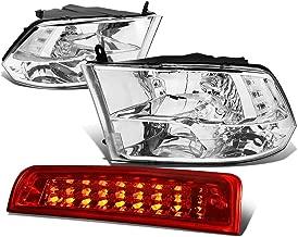 For Dodge Ram Pair of Chrome Housing Clear Corner Quad Headlight + Dual Row LED Red 3rd Brake Light - 4th Gen DS/DJ/D2