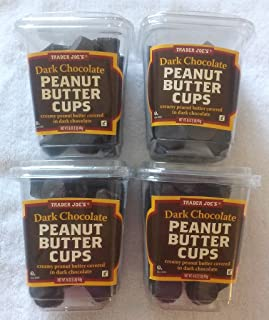 NEW Trader Joe's Dark Chocolate Peanut Butter Cups 4 PACK NO ARTIFICIAL FLAVORS 1 lb each Container NO PRESERVATIVES