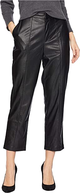 Slim Leg Seamed Faux Leather Pants