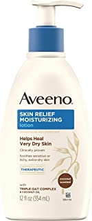 Aveeno Skin Relief Moisturizing Lotion with Coconut Scent & Triple Oat Complex, Dimethicone Skin Protectant for Sensitive ...