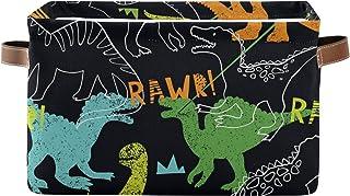 DOMIKING Panier de rangement rectangulaire en forme de dinosaures avec poignées – Organiseur pour jouets, livres, panier à...