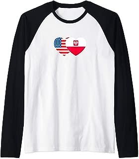 Poland & USA Flag Twin Heart for Polish Americans July 4th. Raglan Baseball Tee
