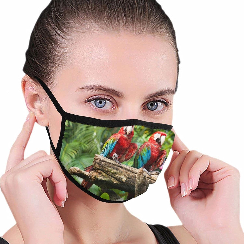 Tropical Rainforest Jungle Parrot and Butterflies Fashion Washable Breathable Reusable for Women Balaclava Face Mask Black