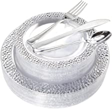 BUCLA 25 Guest Clear Silver Plastic Plates with Disposable Plastic Silverware, Hammered Design Plastic Tableware include 25 Dinner Plates,25 Salad Plates,25 Forks, 25 Knives, 25 Spoons
