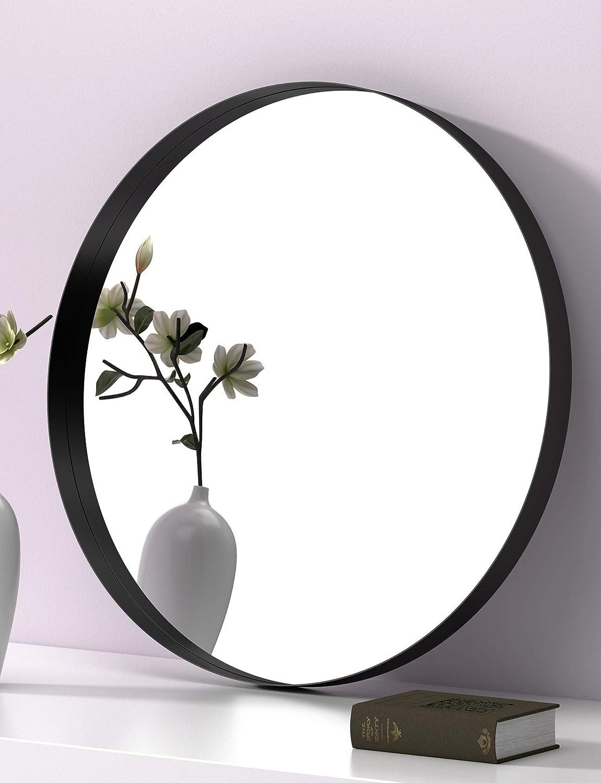 SIERSOE Black Round Bathroom Decorative Mirrors - Circle 24X24 Metal Frame Double Modern Above Couch Entryway Wall Mirror Circular Farmhouse Rustic Vintage Vanity Bedroom Home Industrial Mirror