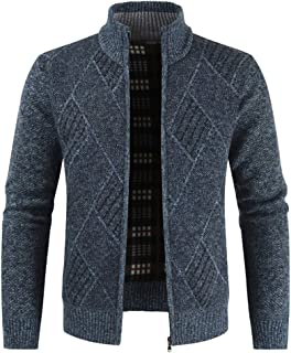 Mens Knitted Cardigan Sweater Chunky Knit Jacket Full Zip Front Stand Collar Long Sleeve Knitwear Jumper