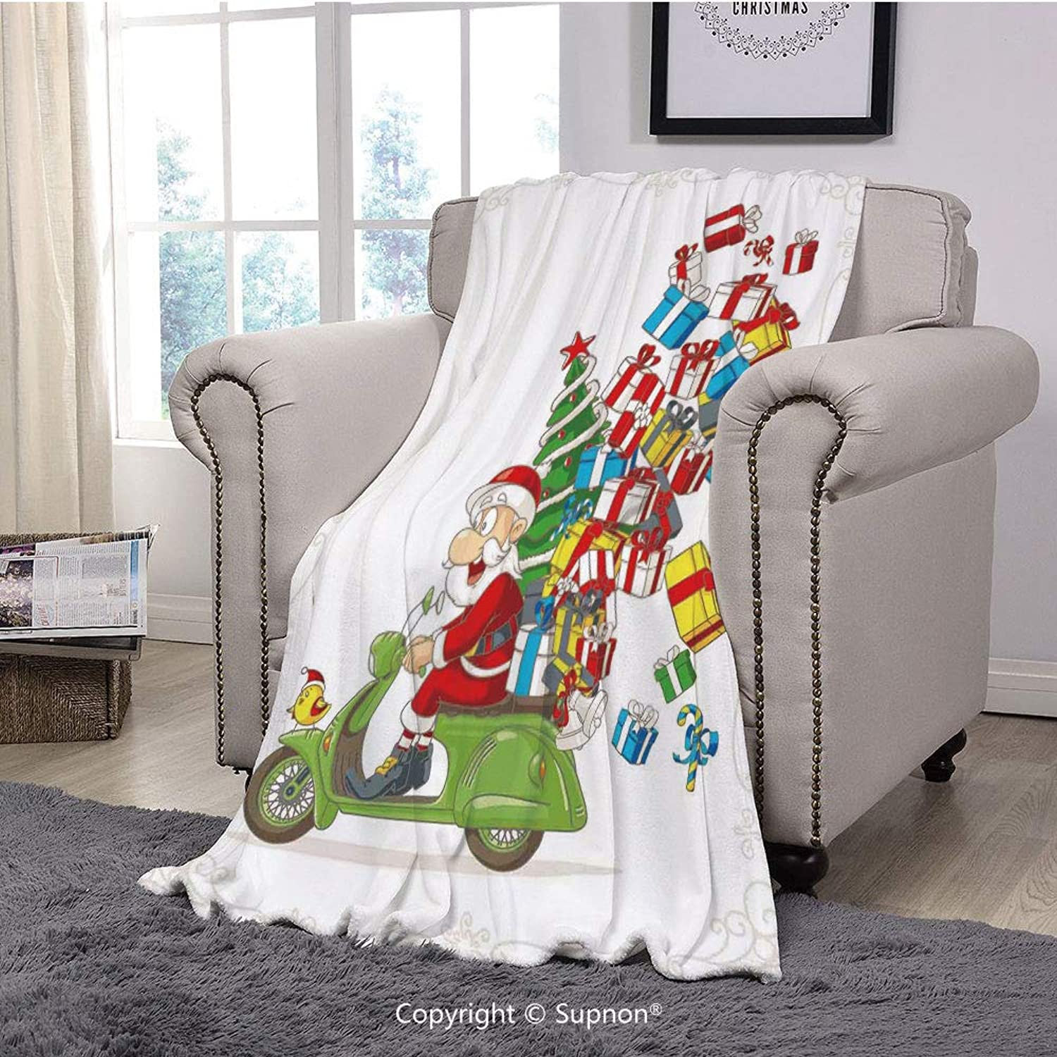 BeeMeng Throw Blanket Super Soft Fuzzy Light Blanket,Christmas,Santa on Motorbike Scooter with Tree and Gifts Funny Cartoon for Kids Bird,White Green Red(51  x 51 )