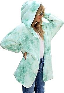 LookbookStore Women's Casual Tie Dye Winter Open Front Hooded Draped Pocket Fleece Cardigan Fuzzy Outerwear Jacket Sherpa ...