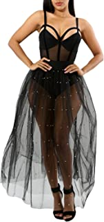 D Jill Women's Sexy Tulle Sheer High Waist A Line Mesh Skirt Maxi with Pearl Beading