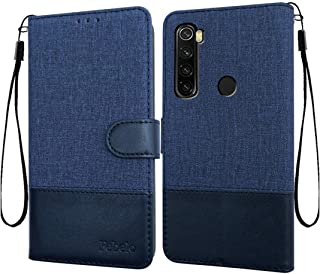 Febelo Case for Xiaomi Redmi Note 8 | Magnetic Lock | Dual Color | Inside TPU with Card Holder | Wallet Stand 360 Degree Protection Flip Cover for Redmi Note 8 (6.30 Inch)- Vintage Blue