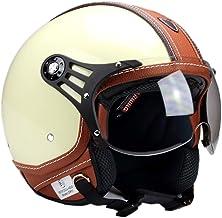 KIRA Motorradhelm Retro Stil Motorradhelm Halbschale Jethelm Offenes Gesicht Jethelme Retro Vintage Style ECE Genehmigt f/ür Cruiser Bike Moped Scooter