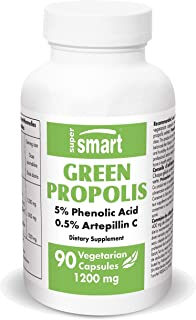 Supersmart - Green Propolis 1200mg Per Serving - Standardized to 5% Total Phenolic Acids & 0.5% Artepillin C - Immune Syst...