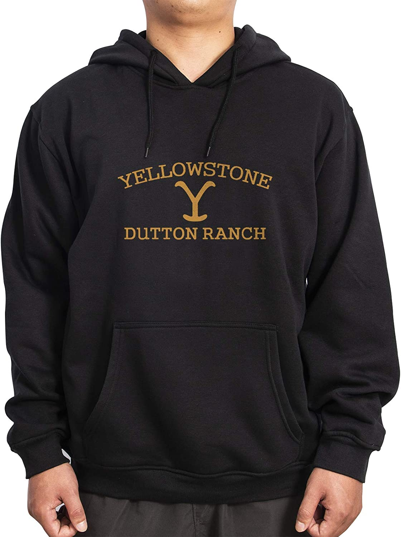 Golden Logo Plush Cotton Black Pullover Hoodies Men