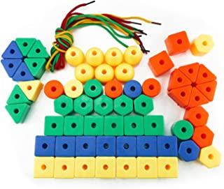 Nextnol 60 PCS,Stringing Beads Set,Jumbo Lacing Beads Toys,6 Strings & Stringing Beads Set Preschool Fine Motor Skills Toys for Occupational Therapy and Autism,Jumbo Primary Stringing Beads