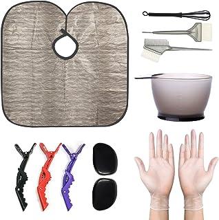 Hair Dye Kit 12pcs Professional DIY Hair Coloring Bleaching Tool Set, Hair Tinting Bowl, Dye Brush x2, Silicon Ear Covers, Hair Clips x3, Reusable Cape, Mix Stick for Salon, Home DIY