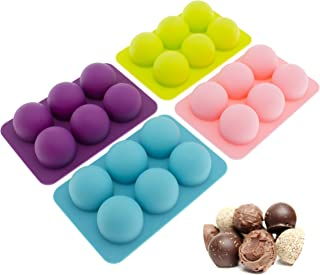 Freshware CB-650 Silicone 6-Cavity Round Chocolate Truffle, Candy and Gummy Mold, Pack of 4, 3 Ounces