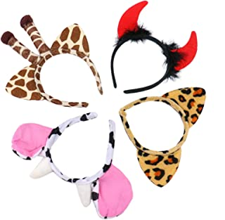 WSSROGY 4Pcs Plush Zoo Animal Ear Headbands,Safari Theme Party Favor,Leopard,Cow,Giraffe,Devil Ears Headband
