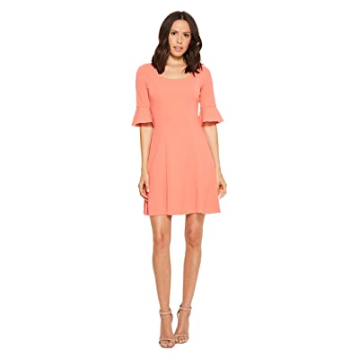 Donna Morgan Short Sleeve A-Line with Princess Seams and Flutter Sleeve (Vermillion) Women