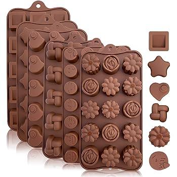 Stampi in silicone per caramelle e cioccolato di alta qualità senza BPA: formine assortite in MARRONE, stampi flessibili e facili da pulire per caramelle e cioccolatini, confezione da 6 pezzi