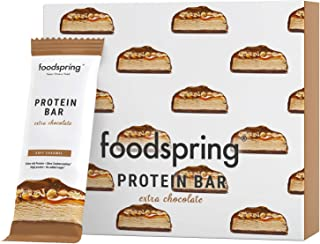foodspring Protein Bar Extra Choco en Pack de 12 (Soft Caramel)