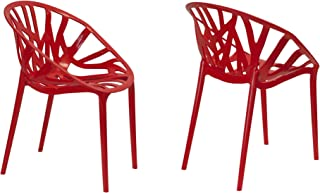 Mod Made Branch Cut Out Dining Chair Stackable, Red, Set of 2