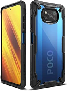 【Ringke】Xiaomi Poco X3 NFC ケース Poco X3 Pro ケースストラップホール [米軍MIL規格取得] クリア 落下防止 スマホケース カバー Qi ワイヤレス充電対応 Fusion-X (Black ブラック)