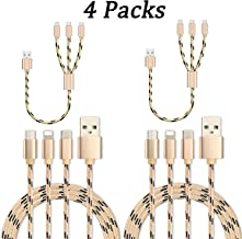 DeHasion 4 Packs 2X 3.3ft 2x1.1ft Multi Charging Cable 3 in 1 Multiple USB Fast Charger Cord with Micro USB/Type C Compatible with Most Cell Phones and Tablets Universal Charger Cable (Gold)