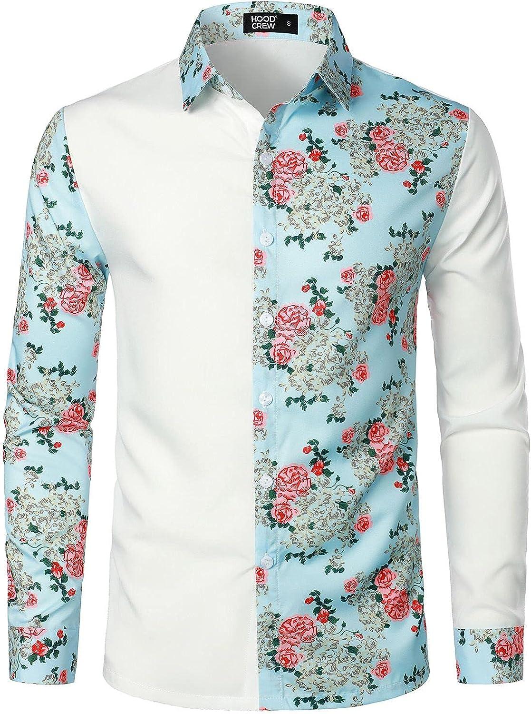 HOOD CREW Mens Vintage Clothes Shirts Long Sleeve Floral Printed Shirt Fashion Vacation Shirt Tops